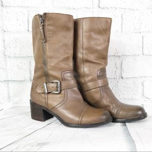 Franco Sarto Women's Boots Mid Calf Brown Moto Zip
